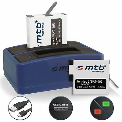 2x Batterie AABAT-001 + Chargeur double pour GoPro Hero5 / GoPro Hero 5