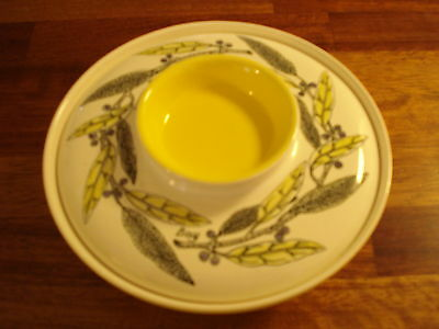 Vintage Poole Lidded Dish Tureen Bay Leaf Pattern Yellow & White Ex Condition