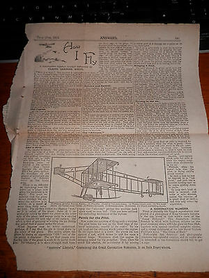 How I Fly... Claude Grahame White....early Aviation Paper Cutting...1911