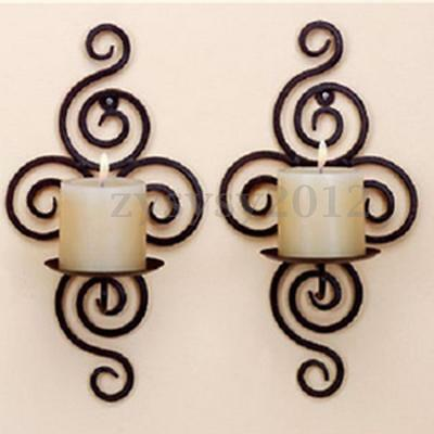 1 pair Bougeoir Mural chandelier Porte Bougie Métal Candle Holder Décoration UK