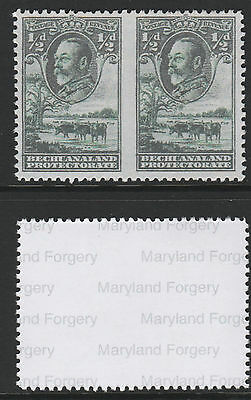 Bechuanaland (701) 1932 KG5 1/2 pair IMPERF BETWEEN  a Maryland FORGERY unused