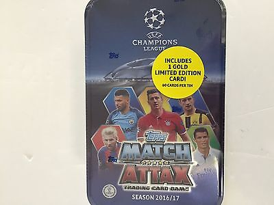 2016-17 Topps Uefa Soccer Match Attax Tin (  1 Gold Limited Edition Card )