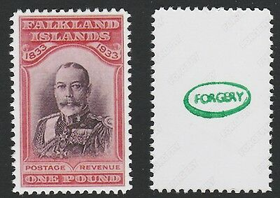 Falklands (705) 1933 Centenary KG5 £1 -  a Maryland FORGERY unused