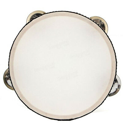6inch Musical Tamborine Drum Round Percussion 4 Jingles for Church Party Red
