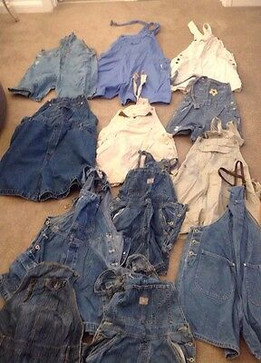 Job Lot Of 12 Vintage Denim Dungarees. Mix Of Colours, Sizes And Styles.
