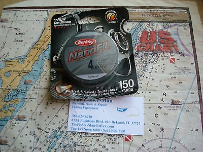 Berkley Nanofil Uni-Filament 4Lb 150 Yard Low Vis Green Fishing Line New In Pack