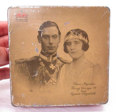 Early Antique British Royalty Coronation Tin King George Vi & Queen Elizabeth
