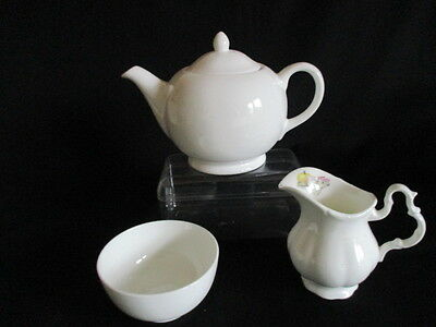 Vintage white china small Tea pot, sugar bowl, milk jug lovely condition