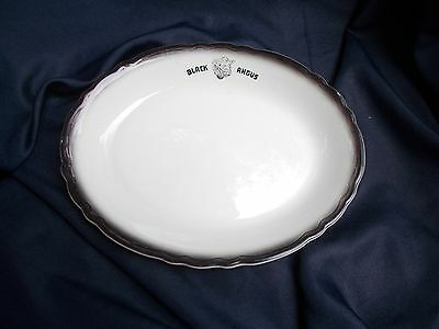 "Sterling China  "" Black Angus "" Air Bushed Oval Platter"