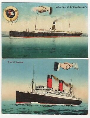 Hands Across The Sea, Lot of 5 Vintage Steam Ship Postcards, B608