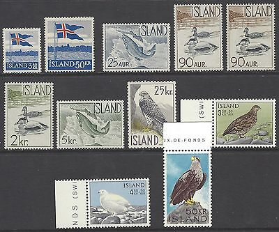 ICELAND 1958-1966 mint MLH or MNH sets stamp collection, mainly BIRDS