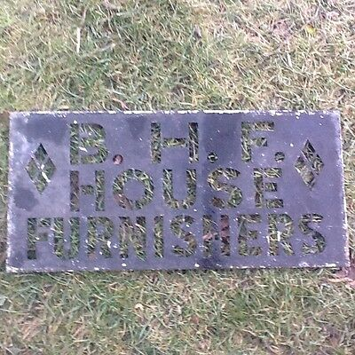 Original early 1900s zinc stencil for bhf house furnishers shop store BHF