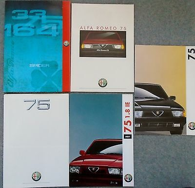 Alfa Romeo 75 1.6 1.8 2.0 2.4  Italian 8 Page Brochure x 4 in Folder 1988 - 1981