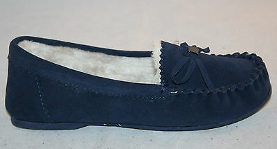 Ex Store Ladies Suede Leather Moccasin Slippers Blue NEW Womens Size 4