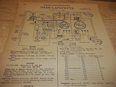 Wiring Diagram(s): 1938 Nash Lafayette 6 - FREE SHIPPING AFTER #1 ++++
