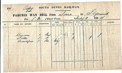 South Devon Railway Parcels Way Bill Torre to Plymouth ** 1864 **