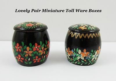 Beautiful pair of Wooden Miniature Toll / Barge Ware Lidded Boxes