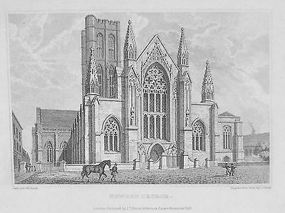 OLD ANTIQUE PRINT HOWDEN CHURCH YORKSHIRE c1829 ENGRAVING bY WHITLOCK / SHURY