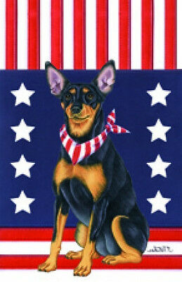Large Indoor/Outdoor Patriot (TP) Flag - Miniature Pinscher Min Pin 75084