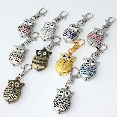 10pcs Mini Metal Key Rings owl double open Watch Chains Jewelry Watches GL03KT