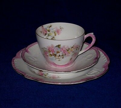 Vintage Nautilus Style Porcelain/China Pink & White Floral Cup, Saucer & Plate