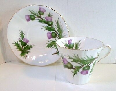 Vintage ADDERLEY TEA CUP & SAUCER - THISTLE PATTERN English Fine Bone China