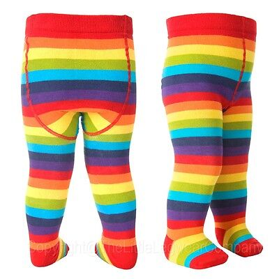 Baby Girls Boys Cotton Tights Rainbow Stripe Flat Seams Comfort Waist