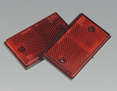Sealey TB24 Reflex Reflector Red Oblong Pack Of 2 Pair Of E Approved Reflex