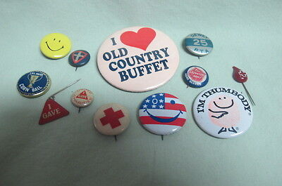 Vintage Lot of 12 Pin Back Buttons