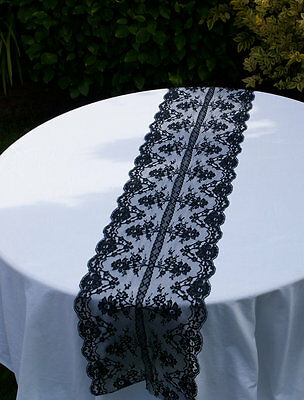 "13"" by 73"" inch Lace Table Runners Black"