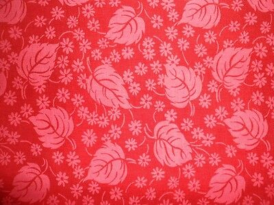 """Feed Sack Fabric Red Pink Tonal Leaf Design 36"""" x 47"""" Cotton Vintage Fabric"""