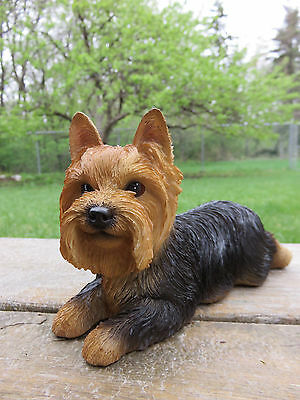"Yorkshire Terrier Puppy Dog on Tummy Resin Figurine Statue 8""L Yorkshere New"