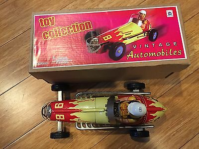 Champions Racer 98 Large Indy Tin Toy  Automobile Wind Up Engine Race Car