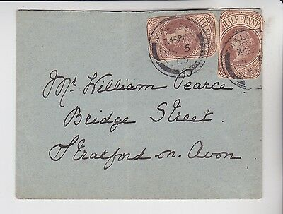 Gb Stamps 1905 Envelope To Stratford Using Qv Stationery Cutouts From Collection