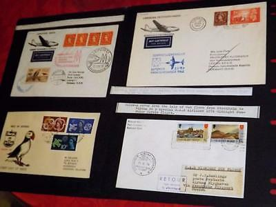 JETHOU-3 GD UNUSUAL 1st FLIGHT COVERS-2 JETHOU+GB STAMPS+IOM CVR +PUFFIN COVER-4