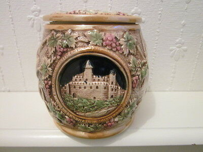 Tobacco Humidor Jar ~ Tobacco Leaves ~ Pipes ~ Old Man+ Pipe ~ Castle ~ Unusual