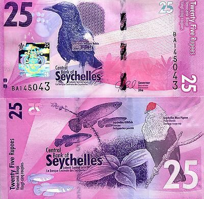 SEYCHELLES 25 Rupees Banknote World Paper Money Banknote Pick p-New 2016 Bird