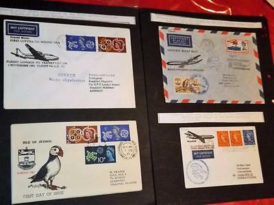 Jethou-3 Good Unusual First Flight Covers-Jethou+Gb Stamps +Puffin Cover-3