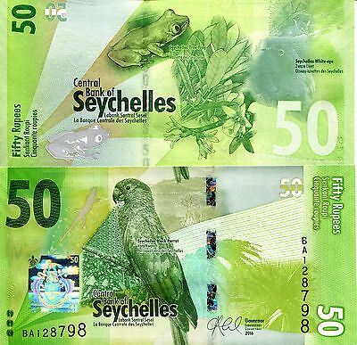 SEYCHELLES 50 Rupees Banknote World Paper Money Banknote Pick p-New 2016 Bird