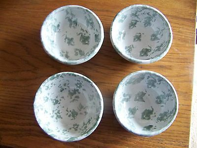 "Bybee Pottery 4 Green/White Spongeware 5"" Bowls - Cereal, Soup or Whatever!"