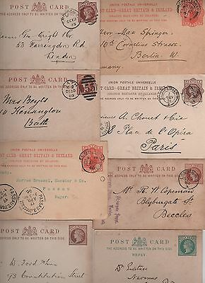 GB QV 24 Postcards, Stationery Hooded circles, Duplexs,  Circles good content.