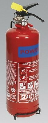Sealey SDPE02 Fire Extinguisher 2Kg Dry Powder Safety Home Garage Office
