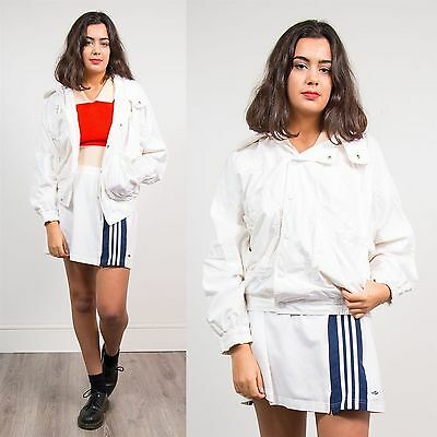 Womens Vintage 90's Lacoste White Shell Tracksuit Jacket Bomber Style Retro 10