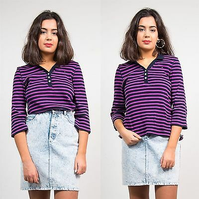 Tommy Hilfiger Purple Striped Pattern Polo T-Shirt Top Open Collared Preppy 16