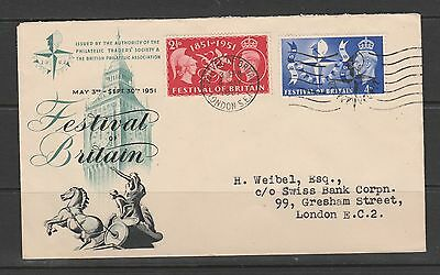 GB GV1 cover 1951 Festival of Britain, special 4th May cds, Illus, Typed address