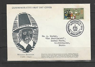 GB FDC April 1st 1970, 1/6 Mayflower, Mayflower 70, Scrooby Doncaster special Ca