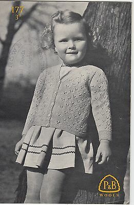 Vintage 1930s 1940s Girl's LACY CARDIGAN Knitting Pattern 1/6 years P&B #177