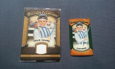 Goodwin Champions 2014 Julie Krone Jersey Patch and Lady Luck Cards