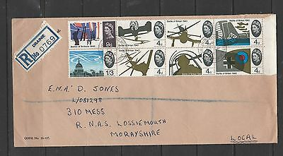 GB FDC 1965 Battle of Britain Ord, Drainlie, Lossiemouth cds, registered