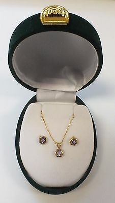 .375 9CT YELLOW GOLD Amethyst Necklace & Earrings Set, 1.58g - B29